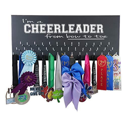 Cheerleading Medal Display - I'm A Cheerleader from Bow to Toe - Wall Hanger for Cheerleader Awards and Ribbons - Medal Holder (Cheer Hanger Medal)