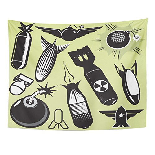 Selection Torpedo - VaryHome Tapestry Black Missile Bomb Collection Torpedo Radioactive Home Decor Wall Hanging for Living Room Bedroom Dorm 60x80 Inches