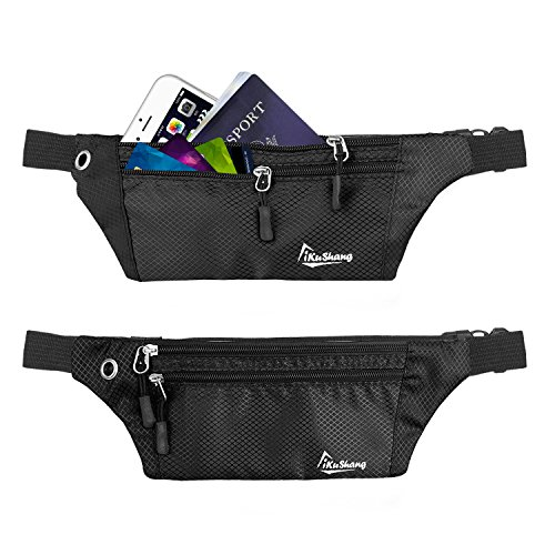 iKuShang Waist Bag Pack Fanny Pack for Women & Men Water Resistant Running Belt with Adjustable Strap for Outdoors Traveling Hiking Cycling Fits for Iphone 6S 7 8plus (Black and Black)
