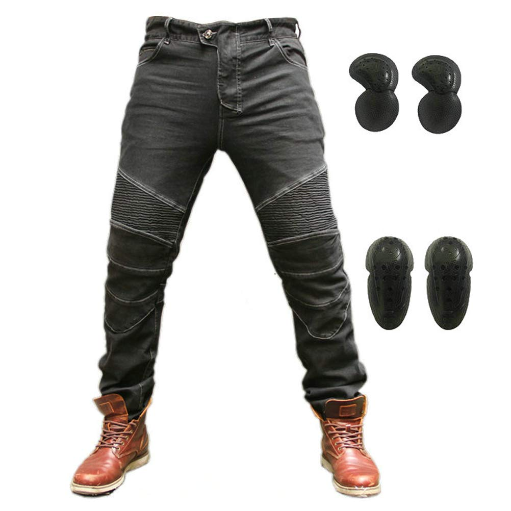 Motorcycle Riding Protective Pants Armor Motocross Racing Denim Jeans Upgrade Knee Hip Protective Pads (Black, M) by Takueuy