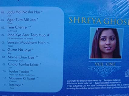 SHREYA GHOSHAL KARAOKE CD Vol 1 (Lyrics Booklet in Hindi- English