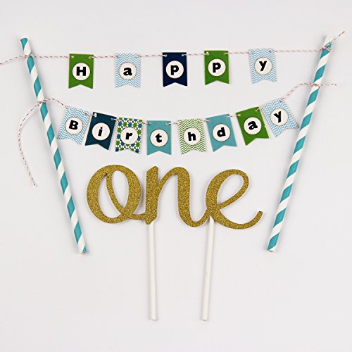 KUNGYO One 1ST Happy Birthday Cake Bunting Banner Small Blue Pennant Flags And Golden