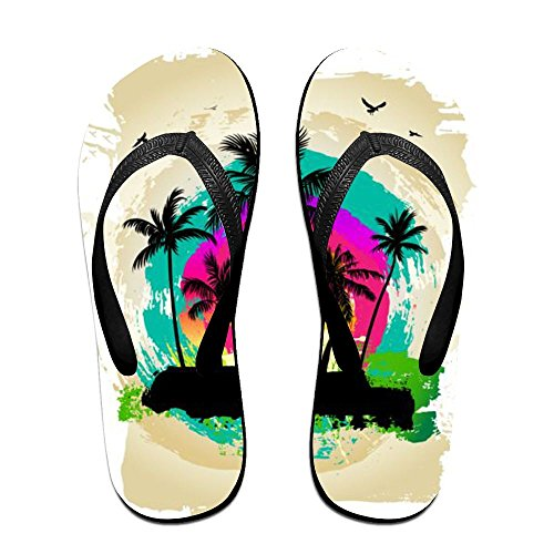Slippers Black Flip Women Tropical Men Palm PTJHKET for Kids Summer Flops Ux4qXXwpT
