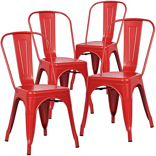 Polar Aurora Indoor/Outdoor Metal Stackable Chic Dining Bistro Cafe Side Chairs (Set of 4) (Red)