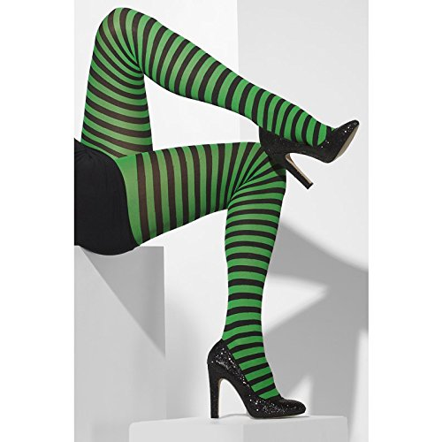 Green Witch Costume Uk (Fever Women's Opaque Tights and Striped, Black/Green, One Size)