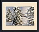 Framed Print of Classic red barn and snow scene, Kalispell, Montana