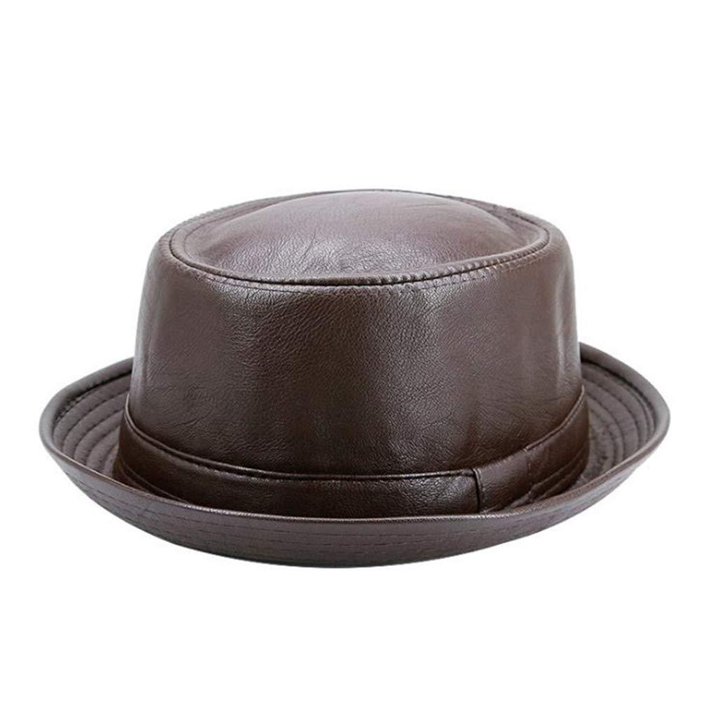 Casual Retro Jazz Hats Faux Leather Vintage Trilby Hat Spring Autumn Classic Panama Cap