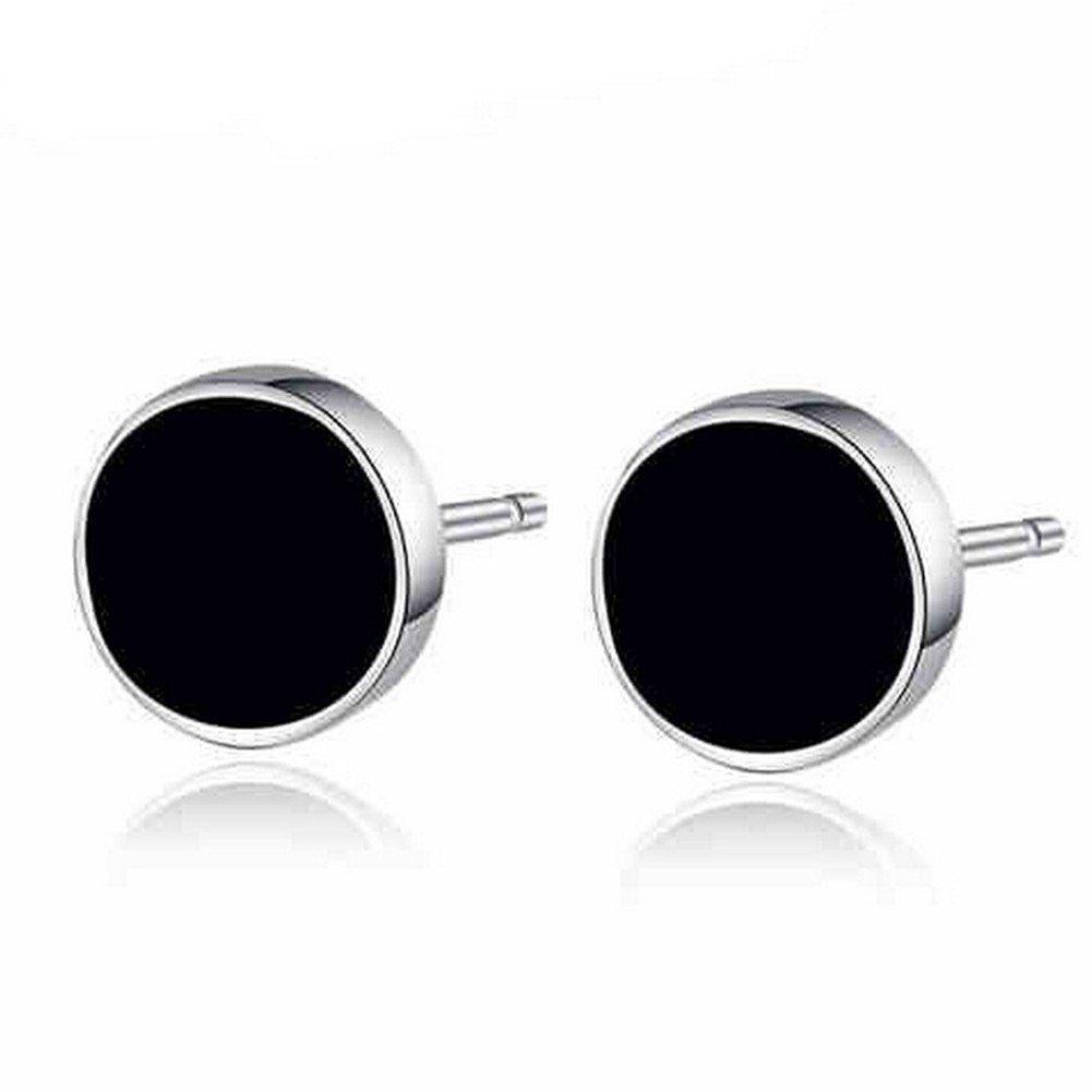 S925 Sterling Silver Genuine Black Onyx Agate Round Circle Vinyl Stud Earrings,6MM XCFS333