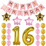 Welliboom Sweet 16 Years Birthday Party Decorations Kit-Pink Happy Birthday Banner, Number 16 Golden Foil Balloon, 4 PCS Five Star,16PCS Gold Pink Latex Balloon, Perfect 16 Years Old Birthday Party Su