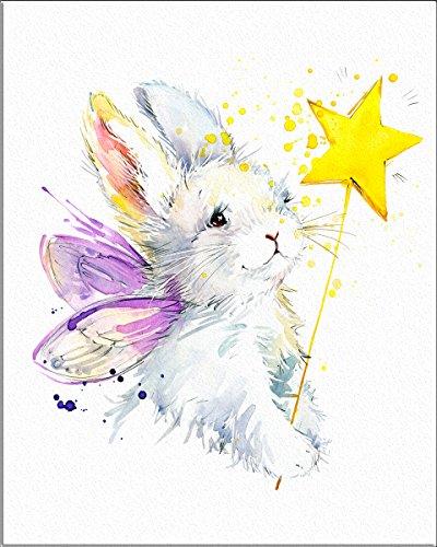 7Dots Art. Bunny fairy. Watercolor art print 8