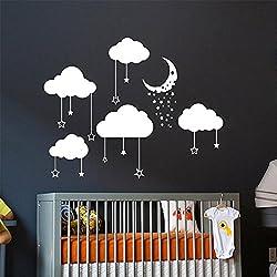 Teriuz Stickers Vinyl Wall Art Decals Letters Quotes Decoration Cloud Stars Moon Nursery Kids Room