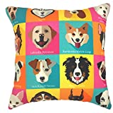 YOUR SMILE Dog Family Cotton Linen Square Decorative Throw Pillow Case Cushion Cover 18x18 Inch(44CM44CM) (Color#208)