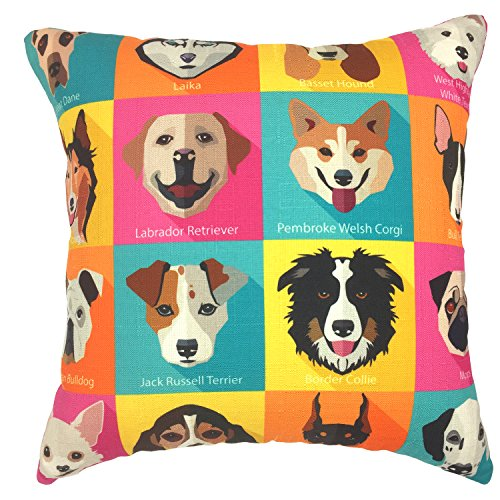YOUR SMILE Dog Family Cotton Linen Square Decorative Throw Pillow Case Cushion Cover 18x18 Inch(44CM44CM) (Color#208) (Colorful Pillows Cheap Throw)