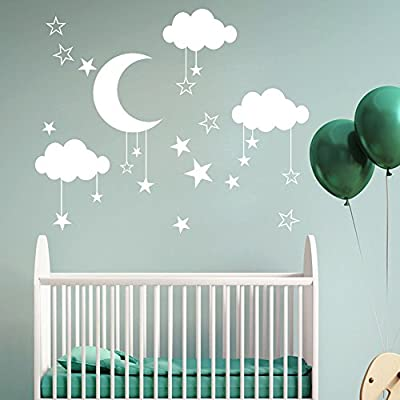 WOCACHI Wall Stickers Decals DIY Large Moon Star Wall Decals Children's Room Home Decoration Art Art Mural Wallpaper Peel & Stick Removable Room Decoration Nursery Decor: Home Improvement