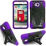 Phone Case for Lg Ultimate 2 L41c Purple Silicone Corner with Hard Cover Kickstand
