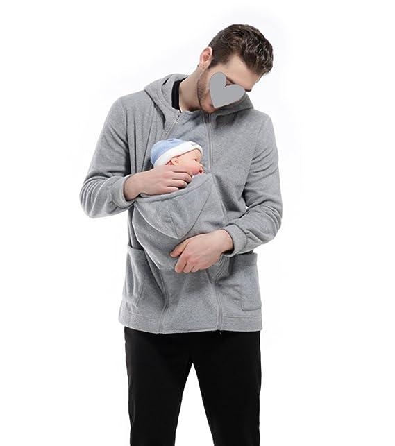 Hombres Papá y bebé portador Canguro Fleece Cremallera Mujeres embarazadas Pulóver Sudaderas Encapuchado Chaqueta Escudo