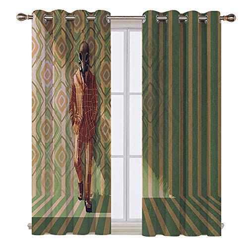 SATVSHOP Waterproof Window Curtain- 63W x 63L Inch-Draperies for Bedroom.Fantasy Art House Fashion Man with Gas Mask Fancy Suit Before etro Wall Kitsch Art Orange Green.]()