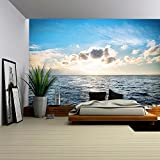 wall26 Sea with Blue Water, Sky and Clouds. Sunset Above Seascape - Removable Wall Mural   Self-adhesive Large Wallpaper - 100x144 inches