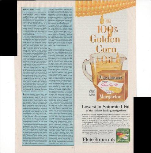 Fleischmann's 100% Golden Corn Oil Margarine 1966 Vintage Antique Advertisement - Margarine Fleischmanns