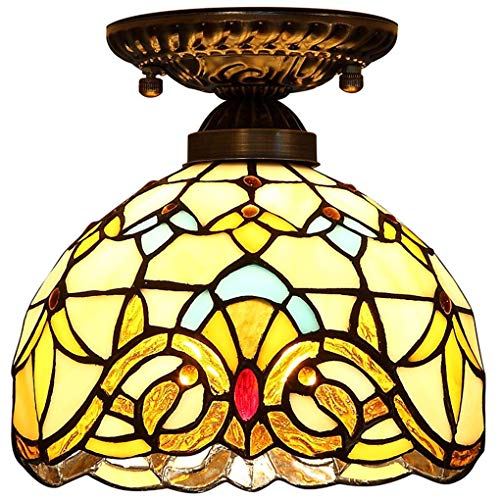 Tiffany Style Ceiling Light, Baroque Ceiling lamp, 8-inch European Retro Stained Glass Chandelier recessed Light for Hallway Balcony, E27