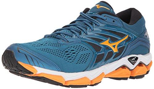 Mizuno Men's Wave Horizon 2 Running Shoe, Blue Sapphire/Bright Marigold/Black, 8 D US
