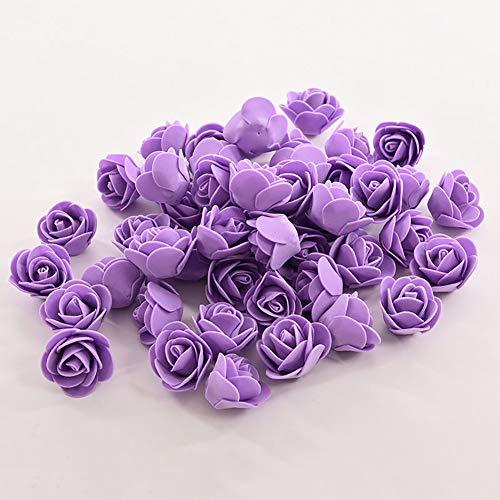 Baost 50Pcs Mini Artificial Foam Roses Flower DIY Wreath Decorative Wedding Bride Bouquet Fake Flowers Heads Bulk for DIY Scrapbooking Flower Kiss Ball Candy Box Party Decor Purple