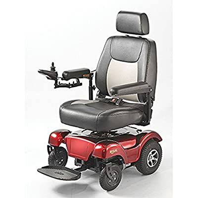 "Merits Health Products - POWER PACKAGE ($500 VALUE) - Regal - Rear Wheel Drive Power Chair - 20""W x 20""D - Red"