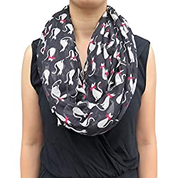 Lina & Lily Cat Print Women's Infinity Scarf Lightweight (Black)
