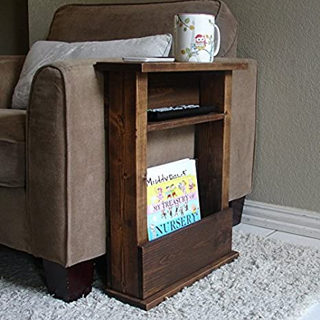 Excellent Rustic Sofa Chair Arm Rest Table Stand With Shelf And Storage Pocket For Magazine Lamtechconsult Wood Chair Design Ideas Lamtechconsultcom