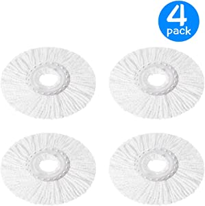 4 Pack Replacement Mop Micro Head Refill Hurricane for 360° Spin Magic Mop-Microfiber Replacement Mop Head-Round Shape Standard Size