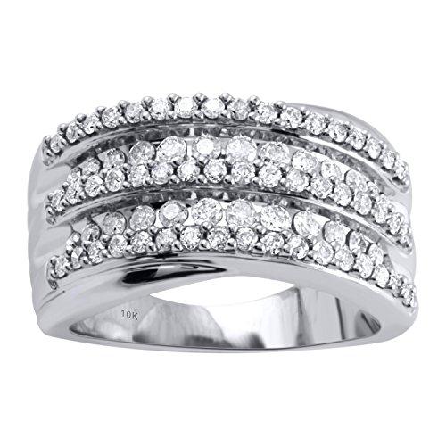 10K White Gold 1cttw Diamond Anniversary Ring