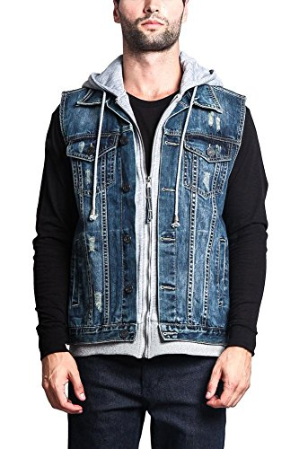 (Victorious Layered Hooded Denim Vest DK110 - Layered Dark Indigo - X-Large - GG1G)