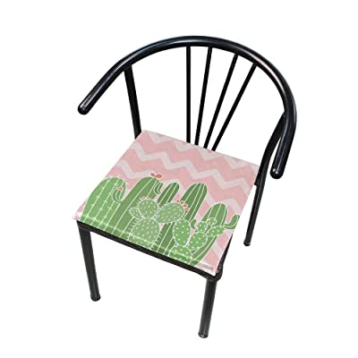 """Bardic HNTGHX Outdoor/Indoor Chair Cushion Plant Cactus Stripe Square Memory Foam Seat Pads Cushion for Patio Dining, 16"""" x 16"""": Home & Kitchen"""