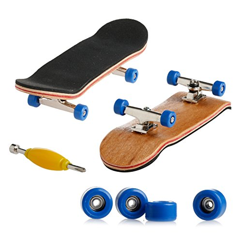 Stebcece New Fingerboard Skateboard Complete wooden Deck board Toys (dark blue) ()