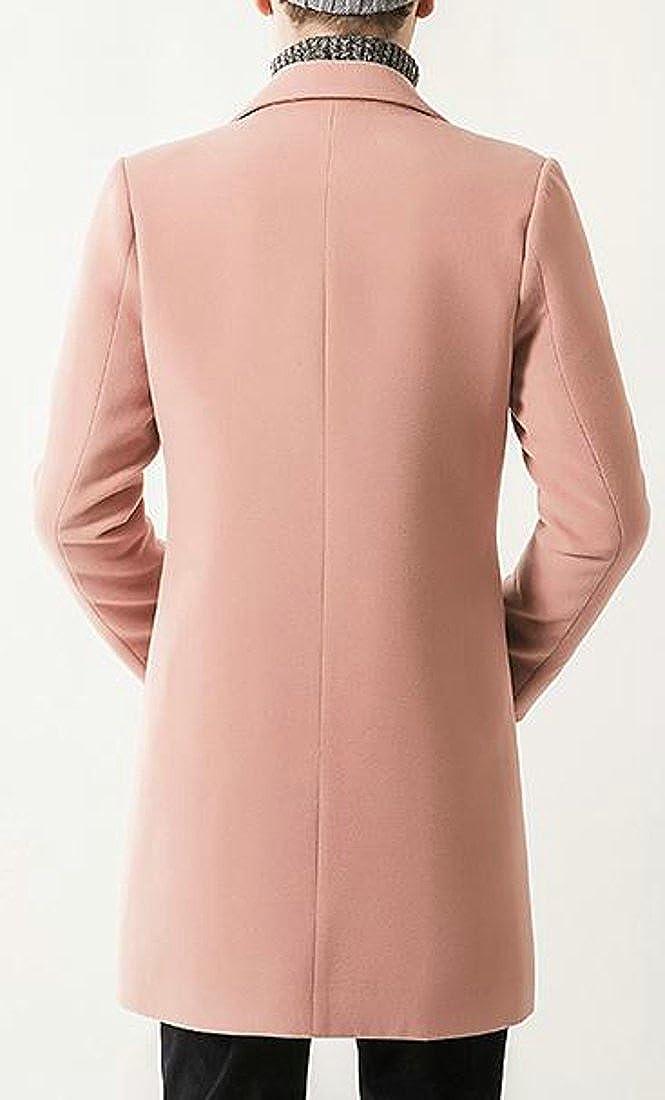 e7b3d74f381 ... Pink Pandapang Mens Winter Fall Slim Slim Slim Lapel Warm Outwear  Mid-long Pea Coat