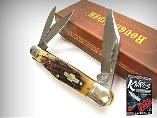 ROUGH RIDER Stag Bone WHITTLER 3 Blade Folder Folding Pocket Knife 001155 New! + free eBook by (3 Blade Whittler Knife)