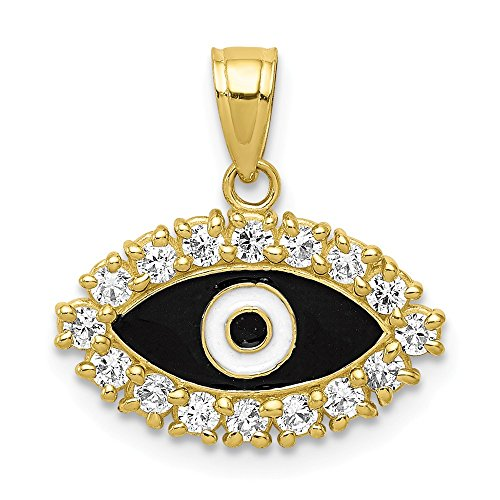 10k Yellow Gold Cubic Zirconia Cz Enamel Eye Pendant Charm Necklace Good Luck Italian Horn Fine Jewelry Gifts For Women For Her