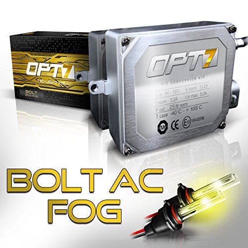 OPT7 Bolt AC 25w 2504 Fog Light HID Kit - 4X Brighter - 6X Longer Life - All Bulb Sizes and Colors - 2 Yr Warranty [3000K Yellow Xenon