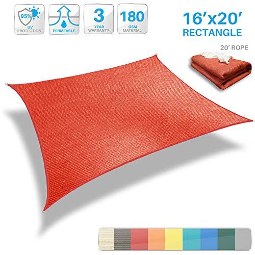 Patio Paradise 16' x 20' Red Sun Shade Sail Rectangle Canopy - Permeable UV Block Fabric Durable Patio Outdoor - Customized Available