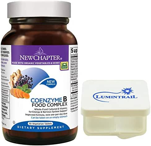 New Chapter Vitamin B Complex - Coenzyme B Food Complex with Vitamin B12 + B6 - Whole-Food - 30 Vegetarian Tablets Bundle with a Lumintrail Pill Case