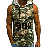 Men's Tanks Tops Shirt Camouflage Vest Comfortable T Shirt Undershirts Workout Hooded with Pocket (S, Green)