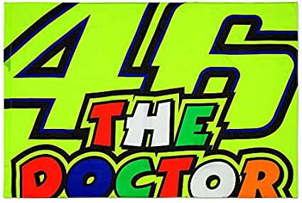 One Size Yellow VR46 Rossi The Doctor Signature Flag