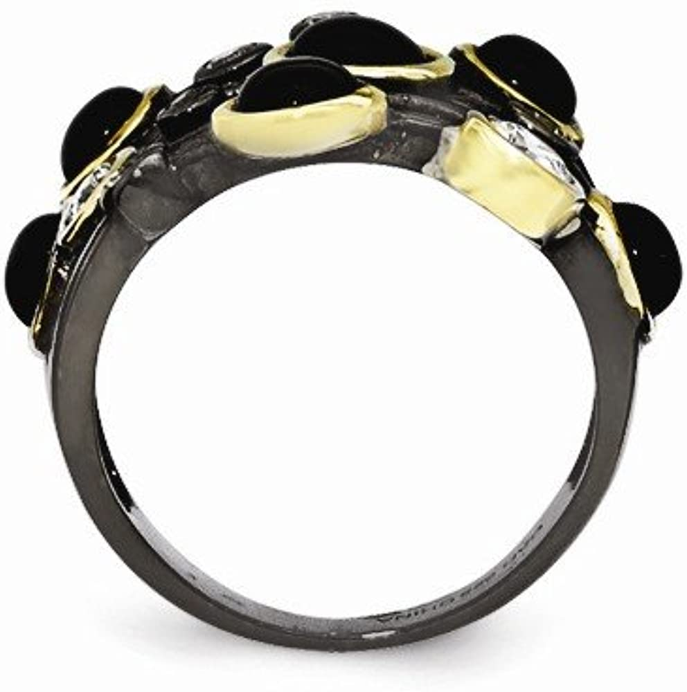 Cheryl M Sterling Silver Black Rhodium with Gold-Plating Onyx and CZ Ring Size 6