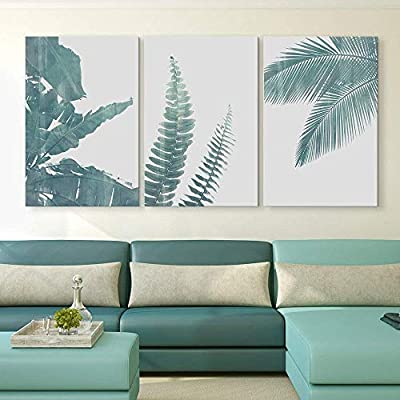 3 Panel Canvas Wall Art - Retro Style Green Tropical Leaves - Giclee Print Gallery Wrap Modern Home Art Ready to Hang - 24