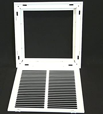 """12"""" X 12"""" Steel Return Air Filter Grille for 1"""" Filter - Removable Face/Door - HVAC Duct Cover - Flat"""" Stamped Face - White [Outer Dimensions: 14.5 X 13.75]"""