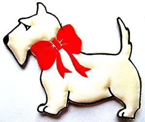 "[Single Count] Custom and Unique (5"" by 4"" Inches) Dogs Breed Scottie Dog With Bowknot Bowtie Bow Iron On Embroidered Applique Patch {White, Black, and Red Colors}"