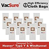 Hoover HEPA Vacuum Bags TYPE Y & Z for Hoover Upright Vacs, By VacSure (12 Bags)