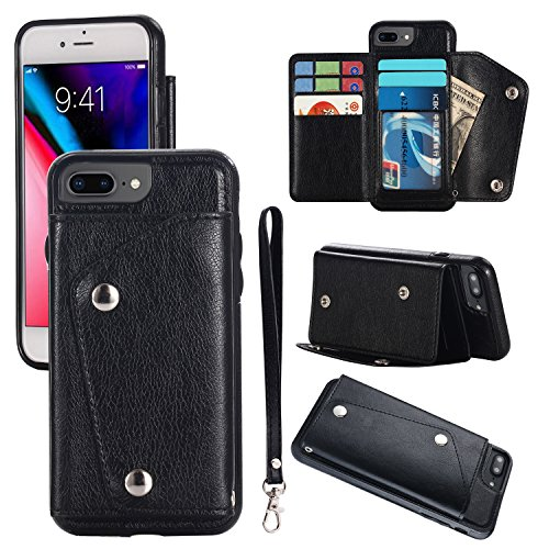 iPhone 8 Plus Card Holder Case, iPhone 7 Plus Wallet Case Slim, iPhone 7 Plus Folio Leather Case Cover Shockproof Case with Credit Card Slot, Durable Protective Case for Apple iPhone 7/8 Plus, Black