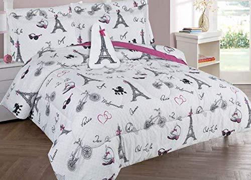 Golden Linens Full Size 4 Pieces Printed Comforter Set Multi Colors White Black Pink Paris Eiffel Tower Design Girls/Kids/Teens # Full 4 Pc Paris