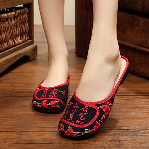 sandalias PlanosZapatos black flip Chinos moda Chnuo de estilo Mujeres Suave femenino Suela flop Zapatos bordados étnico tendón lenguado cómodo xUS7TU